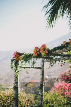 floral arch for the ceremony   Photography by radandinlove.com   Floral Design by mylittleflowershop.com   Coordination by eventsdepartment.com     Read more - http://www.stylemepretty.com/2013/07/19/modern-palm-springs-wedding-from-rad-in-love/
