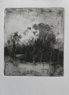 Paula Rubino, Nightscape, 4 x 3 in, etching