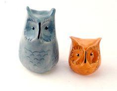 Adorable Owl Pair, Clay, Ceramic, Miniature, Gray, Tan, Cute, Animal
