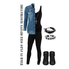 Wear it plus size outfit inspiration  Denim blouse with black top. Skinny black pants and some black sneaker Loads of silvery arm candy en a nice necklace! Wear it plus size!