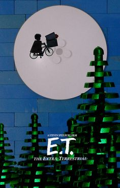 E.T. The Extra Terrestrial Movie Poster, recreated out of Legos!