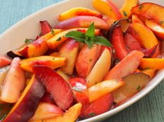 Serious Salads: Stone Fruits with Ginger-Lime Syrup and Mint | Serious Eats : Recipes Yummy! Love the ginger sauce (mashed up slices to get more flavor, suggest adding more ginger next time). Recipe is correct, the ginger does mellow out after sitting, so suggest making extra sauce to keep separate for any leftovers).