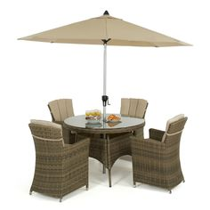 An ideal set for the smaller garden. Hand woven in the Winchester all weather weave this set can be used all year round. The Carver chairs have high arm rests and a high back for support and comfort so you can entertain all day long. We provide a free parasol and base with this set for those who seek shade.