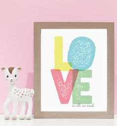 Love Is All We Need - Pastels. Kids wall art and wall prints.  Shop Love JK for nursery decor and nursery ideas.
