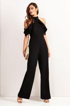 Buy Lipsy Petite Ruffle Halter Neck Jumpsuit from the Next UK online shop Dress For Petite Women, Fashion For Petite Women, Office Fashion Women, Jumpsuits Uk, Playsuits, Petite Outfits, Petite Dresses, Jumpsuit Elegante, Medieval Dress