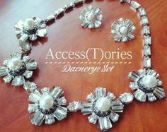Luxury & Glamurous earrings - necklace set, wedding earrings, bridesmaid, bride, bridal earrings, necklace