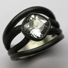 Silver-White-Topaz-Cross-over-Ring Fine Jewelry, Jewellery, White Topaz, Fingers, Craftsman, Rings For Men, Jewelry Design, Logo Design, Logos