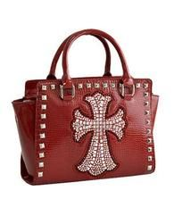 Cross Embossed Cross Handbag w/Rhinestone-RED