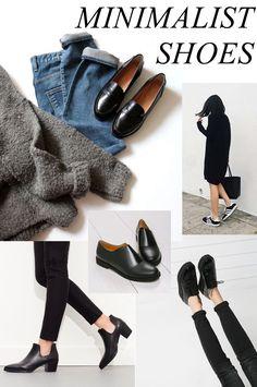 Sapatos Minimalistas X Tendências: uma seleção linda cheia de sapatos nas cores mais minimalistas possíveis: preto, branco e cinza!