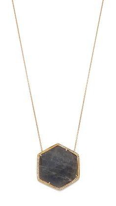 Jacquie aiche Pave Large Hexagon Bezel Necklace