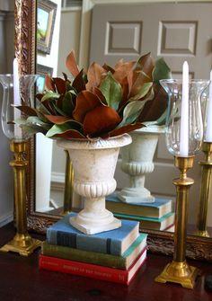 Easy Magnolia Arrangement with Vintage Brass Candlesticks.