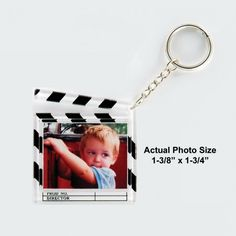 Photo Clapboard Keychain is great for family and children's photos.  Photo Included