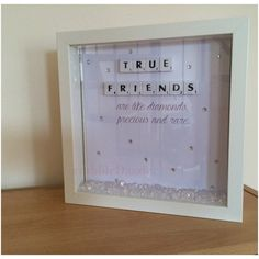 Personalised scrabble frames make the perfect gift idea for any occasion. Choose your own words/names to be added to a preferred background or colour of your choice. The perfect personal touch gift for a true friend. * 23cm x 23cm * Available in a white or black frame