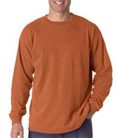 Comfort Colors Men 's Ringspun Garment-Dyed Long-Sleeve T-Shirt , Yam,XX-Large. 100% ringspun cotton. preshrunk, soft-washed, garment-dyed fabric. twill taped shoulder-to-shoulder. double-needle stitched neck, armholes and bottom hem. 6.1 oz.