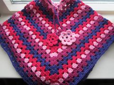 kinder poncho paars/roze