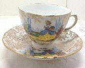 #Colclough Teacup #Sunbonnet Crinoline Lady in her Garden - #Bone China England boomerville at Etsy.com