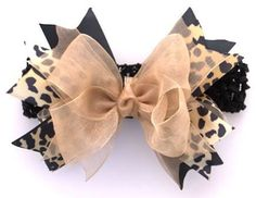 Oh so posh and pretty for her holiday wardrobe Our Cheetah bow is made with luxe layers of gold satin, gold chiffon and satin Cheetah print. Made just for your little diva Bow size Large Ribbon Hair, Ribbon Bows, Hair Brooch, Baby Hair Accessories, Boutique Hair Bows, Making Hair Bows, Ribbon Crafts, Baby Bows, How To Make Bows