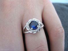 Sapphire Halo Engagement Ring Sapphire Braided Rope by Benati