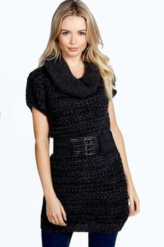 Emily Belted Roll Neck Tunic Jumper at boohoo.com