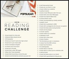Popsugar 2016 book challenge