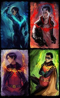 DC Comics Dick Grayson, Jason Todd, Tim Drake, and Damian Wayne. Batwoman, Nightwing, Batgirl, Robin Dc, Batman Robin, Batman Arkham, Tim Drake, Damian Wayne, Arte Dc Comics