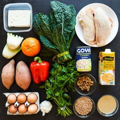 PRODUCEFennel - 1 large or 2 small bulbsGarlic - 1 headKale - 2 bunchesOrange - 1Parsley - 1 bunchRed bell pepper, large - 1Sweet potato, medium - 2MEAT, EGGS & DAIRYChicken breasts (bone-in, skin-on) - 2Eggs - 4Feta cheese - 2 ouncesPANTRYApple cider vinegar, 3 tablespoonsExtra-virgin olive oilFarro, dry - ½ cupLow-sodium chicken stock - 2 cupsSalt and pepperTahini - 2 tablespoonsWalnuts (or any nut you prefer) - ⅓ cupWhite beans - 1 (15-ounce) can