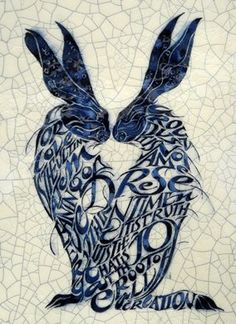 """Iris Milward, Poetry Tiles, Two Hares """"For love is the ultimate meaning of everything around us. It is not a mere sentiment; it is truth; it is joy that is at the root of all creation. Motifs Art Nouveau, Rabbit Art, Bunny Rabbit, Bunny Art, Tile Art, Ceramic Art, Iris, Sculptures, Illustration Art"""