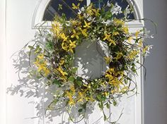 First Signs Of Spring White and Yellow Forsythia Door Wreath Spring Door Wreaths, Spring Sign, Floral Wreath, Bows, Colours, Decorations, Signs, Amazon, Yellow