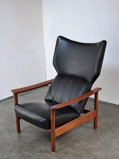 Ib Kofod-Larsen Attributed; Teak and Skai Reclining Chair, c1960.