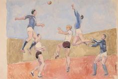 ✽   duncan grant  -  'football'  -  gouache, watercolour and pencil on paper  -  ca 1960