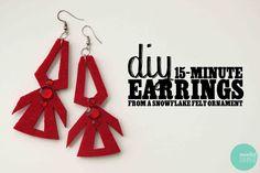 DIY Easy Earrings from Snowflake Felt Ornaments @ mintedstrawberry.blogspot.com