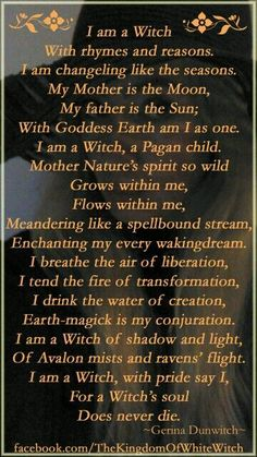 Magick Wicca Witch Witchcraft: I Am a - Pinned by The Mystic's Emporium on Etsy Wiccan Witch, Magick Spells, Magick Book, Green Witchcraft, Witchcraft Spells, Witch Quotes, Witch Board, Hedge Witch, Eclectic Witch