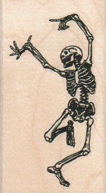 Rubber stamp Halloween dancing skeleton bones  by pinkflamingo61, $9.75