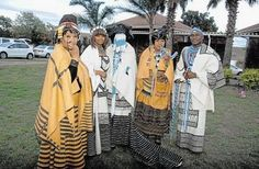 GOING TRADITIONAL: Nelson Mandela's daughter Zindzi Mandela, her daughter Zoleka Mandela, Zondwa Mandela's wife, Lindo Nondzolo Zici (the bride), Winnie Madikizela-Mandela and groom Zondwa Mandela during the traditional wedding in Qunu