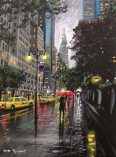 PETE RUMNEY FINE ART MODERN ACRYLIC OIL ORIGINAL PAINTING 42nd STREET NEW YORK in Art, Artists (Self-Representing), Paintings | eBay