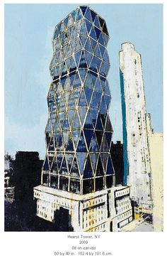 Enoc Perez's Oil painting of the Hearst Tower in NYC.