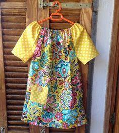 Boho (Raglan-sleeved, Peasant-style) Girls Dress Pattern | AllFreeSewing.com