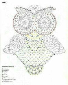 DIY Crochet Owl in Crocodile Stitch with Pattern Crochet Butterfly, Crochet Mandala, Crochet Art, Thread Crochet, Crochet Animals, Crochet Motif, Crochet Doilies, Crochet Stitches, Crochet Hooks