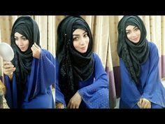 Hijab style for Salwar Kamij & Burkha Easy Hijab Style, New Hijab Style, Hijab Style Tutorial, Stylish Hijab, Hijab Chic, Hijab Styles For Party, How To Wear Hijab, Moslem Fashion, Hijab Dpz