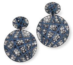 Hemmerle earrings in aluminium, silver and white gold with diamonds