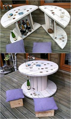 How to make a DIY Pallet Bar? - Is it your friend's birthday or some big event coming up in few days? If yes and you wanted to surprise him then making a DIY pallet bar is a great . Wooden Spool Tables, Cable Spool Tables, Wood Spool, Cable Spool Ideas, Wooden Cable Reel, Wooden Cable Spools, Diy Pallet Furniture, Diy Pallet Projects, Pallet Ideas