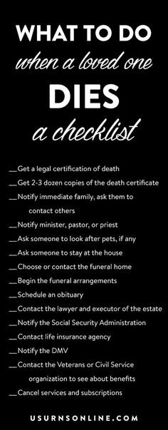 funeral checklistWhat to do when someone you love dies - a checklist Funeral Planning Checklist, Retirement Planning, Family Emergency Binder, When Someone Dies, Thing 1, After Life, End Of Life, Life Plan, Parenting