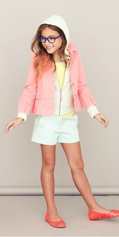 JCrew kids! Team a pastel jacket with white shorts for a perfect summer look! Layering is best if you enjoy weather where days are warm and evenings are cool!