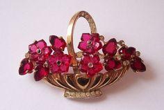 trifari fruit salad flower basket brooch
