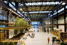 Urban Outfitters Corporate Headquarters. Former Philadelphia Navy Yard retrofit by Meyer, Scherer & Rockcastle, Ltd.