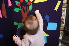 Giant felt shape pictures. Cut out shapes from different coloured felt and little ones will have a blast sticking and repositioning on a large felt-covered board.