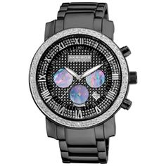 @Overstock - This handsome timepiece from Akribos XXIV showcases PVD black stainless steel construction with genuine diamond accents on a pave pattern dial and a black imitation pave dial. The men's watch offers three black mother of pearl subdials.http://www.overstock.com/Jewelry-Watches/Akribos-XXIV-Mens-Diamond-accented-Black-Chronograph-Bracelet-Watch/4611516/product.html?CID=214117 $144.99