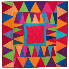 free range triangles-Gwen Marston and Cathy Jones Big Block Quilts, Scrappy Quilts, Homemade Paint, Scrap Quilt Patterns, Medallion Quilt, Log Cabin Quilts, Textiles, Contemporary Quilts, Free Range