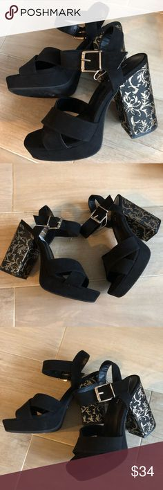 NEW Parker & Sky Chunky Heels Platform Black Gold New Stylish and Bold Platform Black Chunky Heels with Gold design        Any questions, please ask.  Check out my closet for more new and stylish items.  ❤️🎉Offers Welcomed!🎉❤️ Shoes Platforms