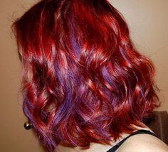 Image result for red hair purple highlights